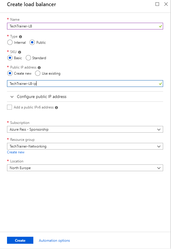 How to create Azure Load Balancer – Tech Trainer