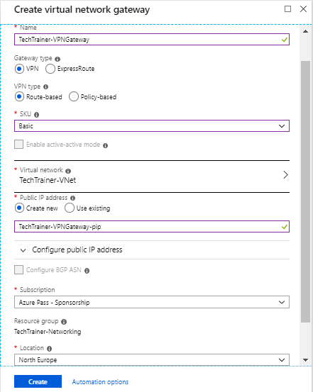 How to configure Azure Site-to-site VPN – Tech Trainer